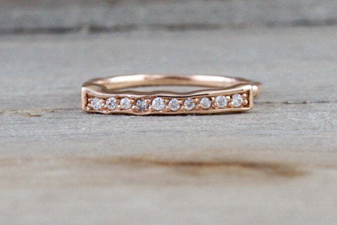 14kt Rose Gold Diamond Hammered Band Ring