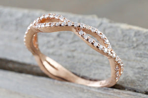 14k Rose Gold 3/4 Diamond Infinity Intertwined Twist Braid Band Promise Ring - Brilliant Facets