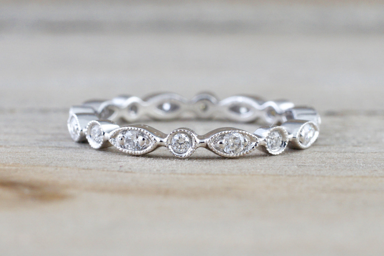 Eternity 14k White Gold Diamond Vintage Milgrain Ring Filigree Dainty Band Stacking