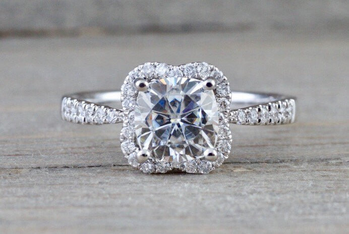 14k White Gold Cushion Moissanite Diamond Halo Engagement Promise Ring 6.5mm - Brilliant Facets