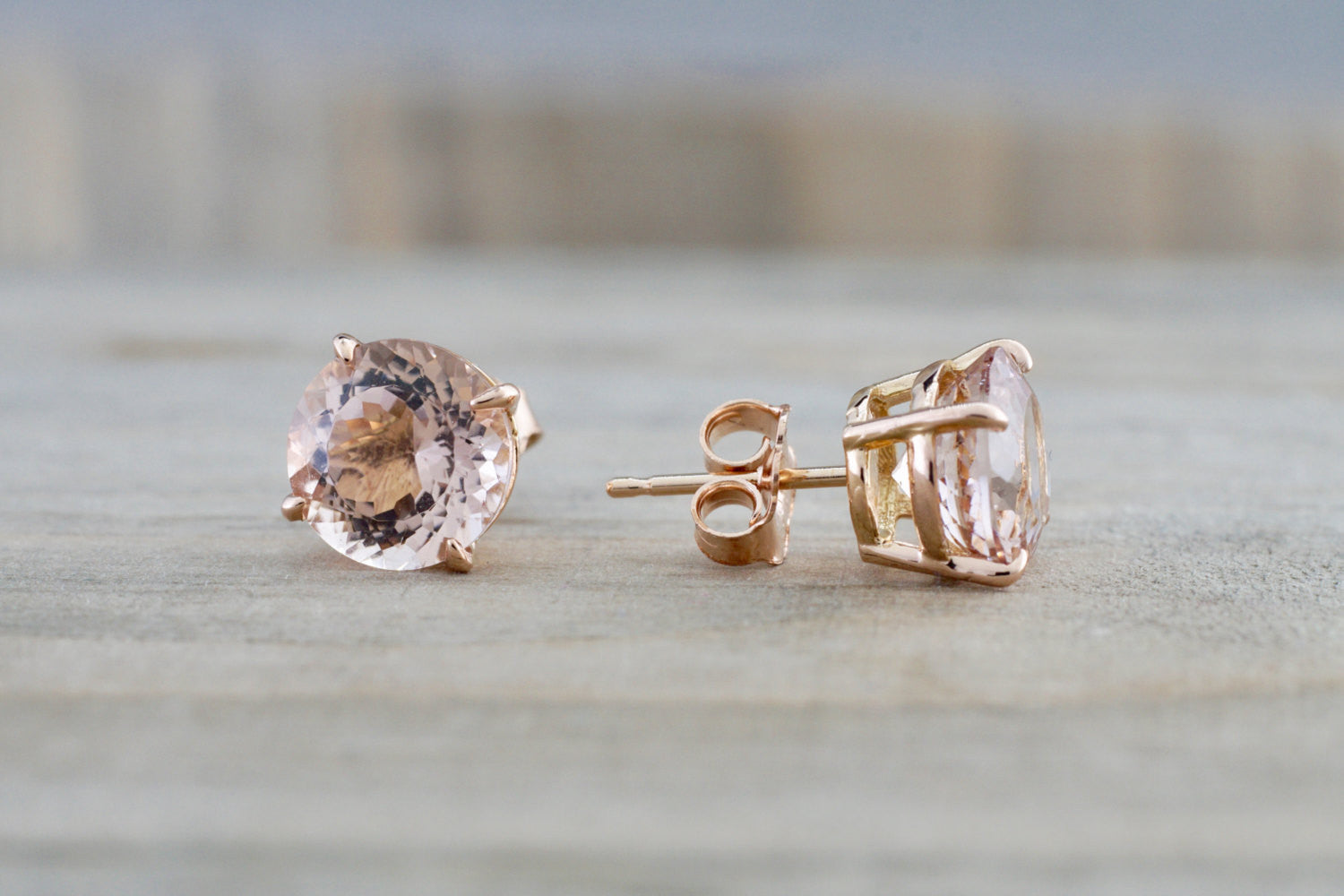 8mm Morganite on 14k Solid Rose Gold Earring Studs Post Push Back Square Post Stud