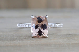 14k White Gold Cushion Cut Morganite Diamond Ring Under Halo - Brilliant Facets