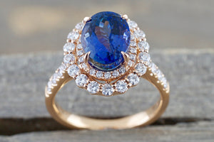 Olena 18k Rose Gold Double Oval Tanzanite Diamond Halo Wedding Engagement Promise Ring ER010015