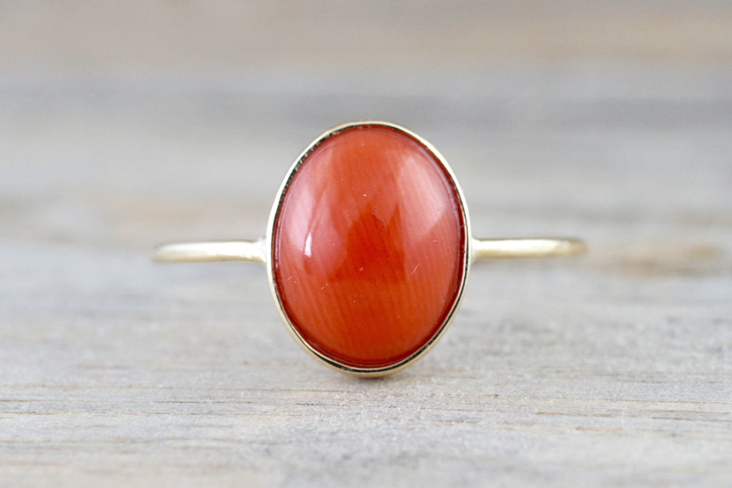 14k Yellow Gold Oval Bezel Natural Ruby Red Coral Band Ring Fashion 11x9