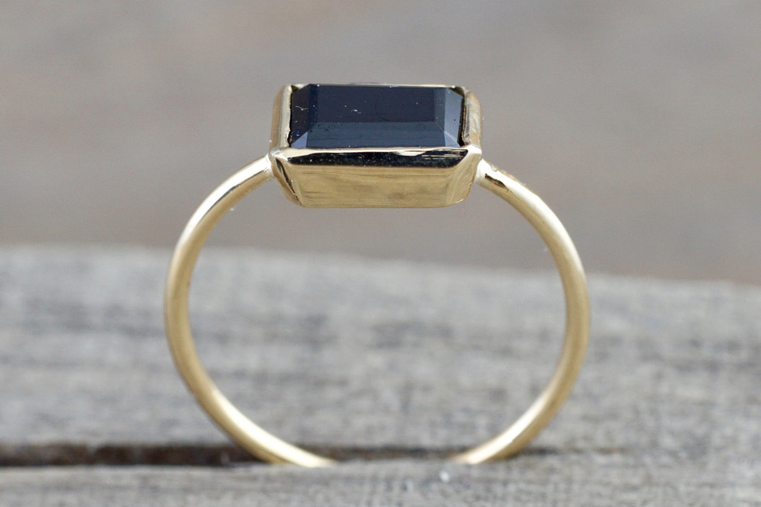 14k Yellow Gold Black Spinel 1.24 carats Rectangle Square Bezel Band Ring Stackable
