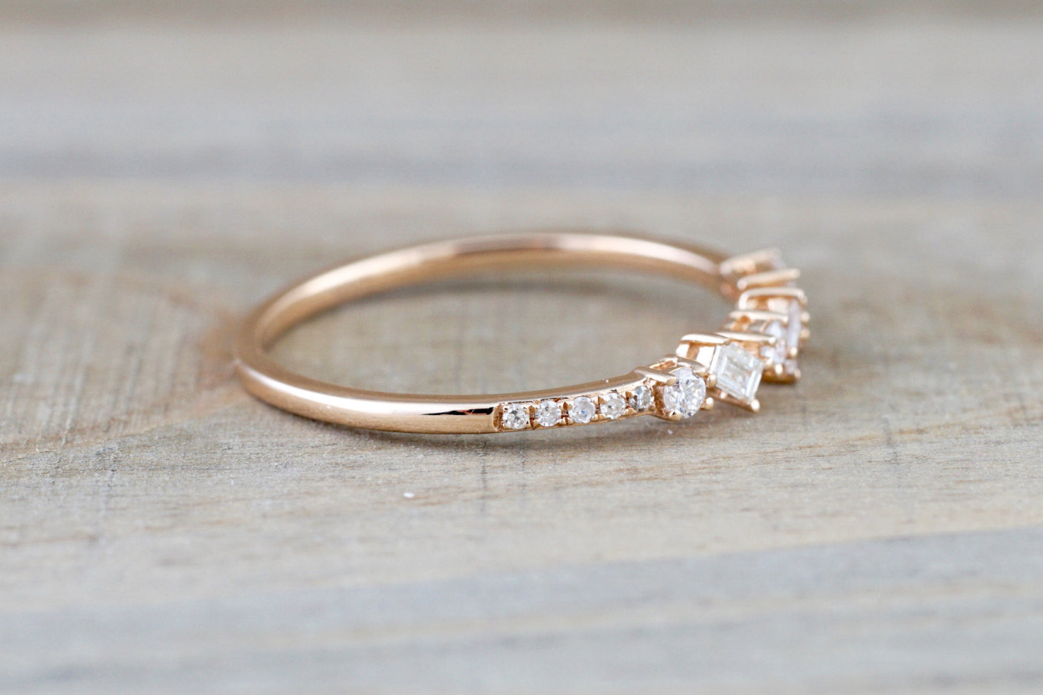 14k Rose Gold Dainty Baguette Cut Rectangle Diamond Band Stackable Design Classic Twist - Brilliant Facets