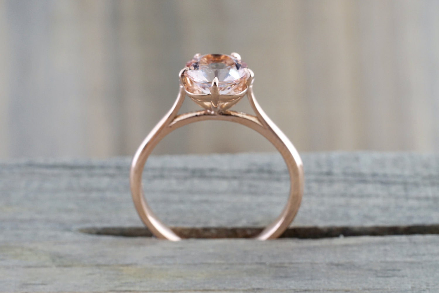 Olympic Floral Petal 14k Rose Gold Round 7mm Morganite Pink Peach