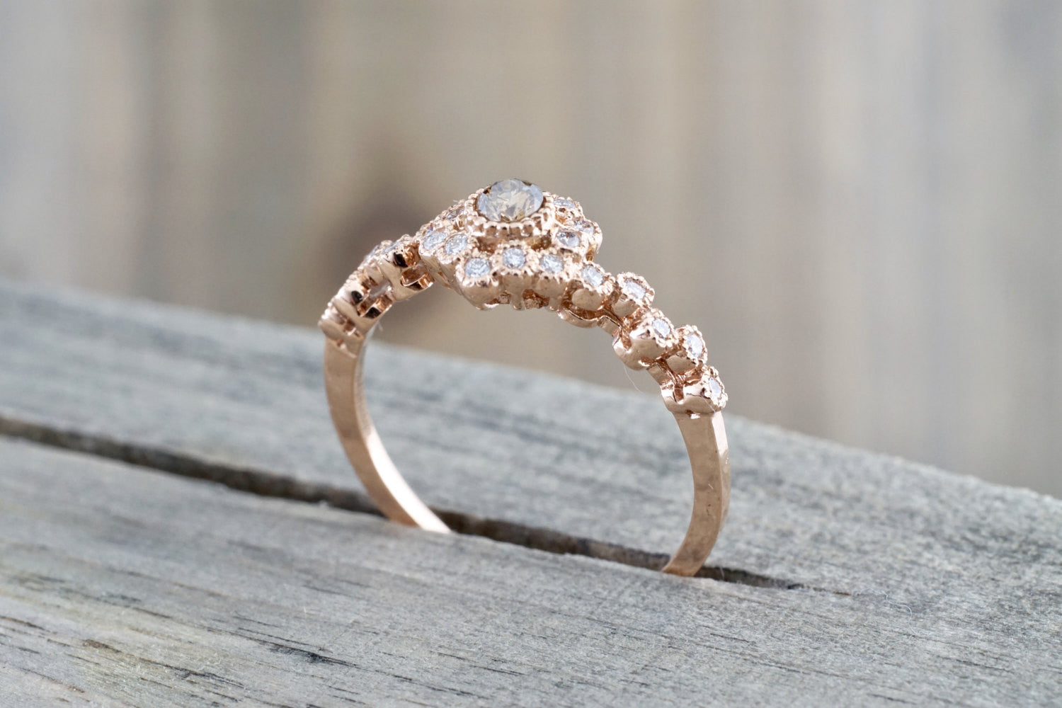 Vermont 14K Rose Gold Classic Chocalate Diamond Engagement Wedding Promise Vintage Classic Cute Ring Band Arch Shaped