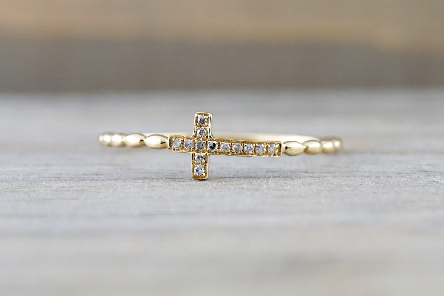 14kt Solid Gold Diamond Sideways Cross Ring Side Ways Rope Bead Band