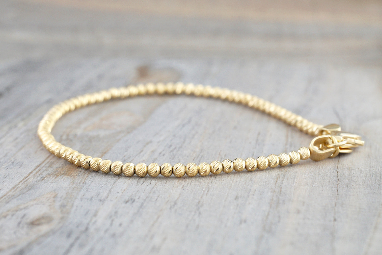 14k Yellow Gold Bead Ball Diamond Cut Bracelet Dainty Love Gift Fashion