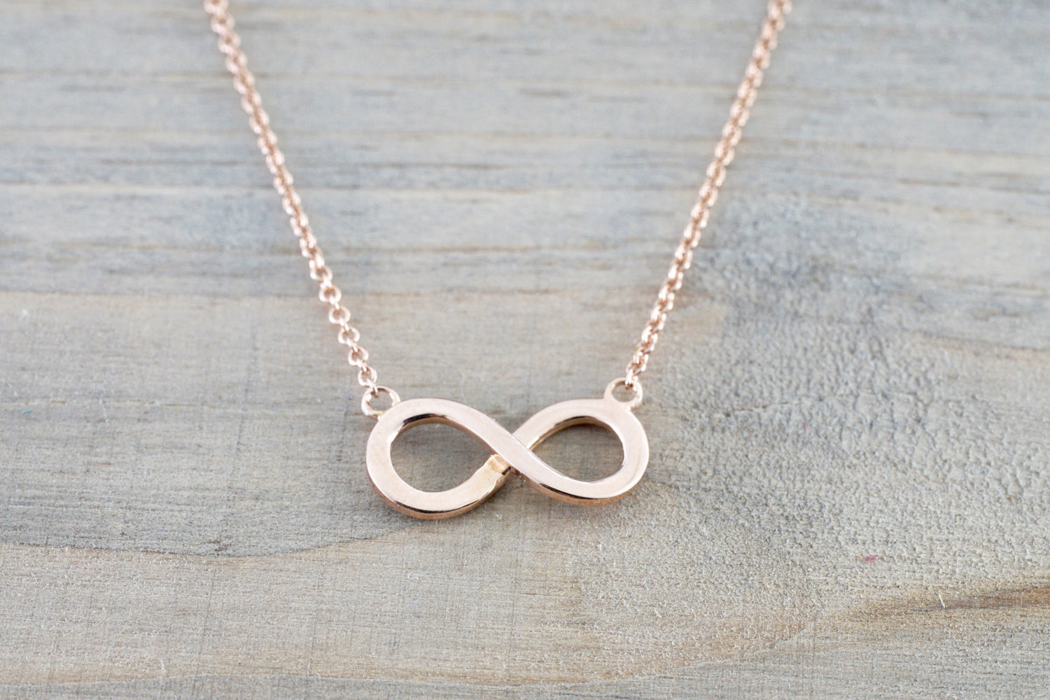14k Rose Gold Infinity Open Pendant Necklace - Brilliant Facets