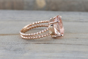 14k Rose Gold Elongated Oval Cut Pink Morganite Split Shank Rope Ring Rope Bead Vintage - Brilliant Facets