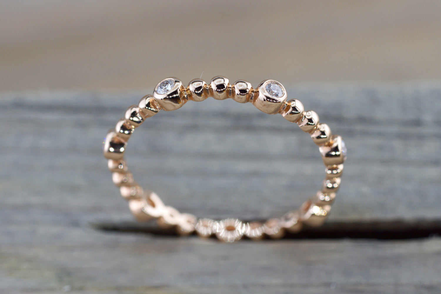 14k Rose Gold Diamond Bezel Bead Full Eternity Staggered Stackable Dainty Ring Band Wedding - Brilliant Facets