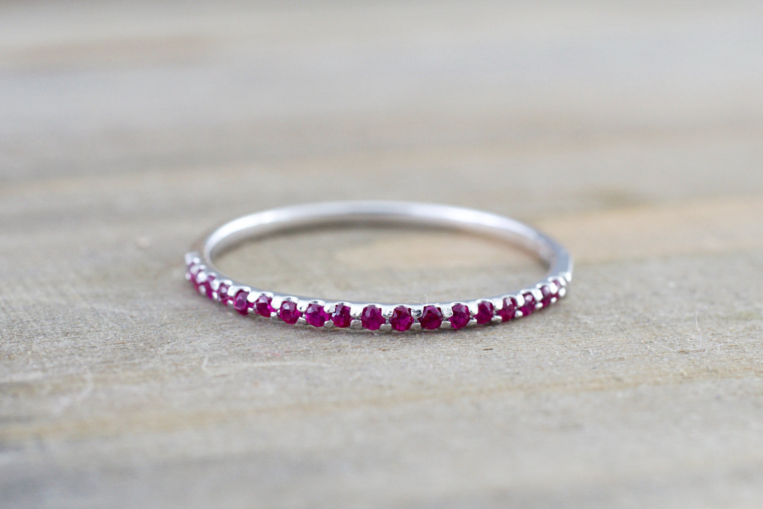 14k White Gold Red Ruby Dainty Band Wedding Stackable Ring