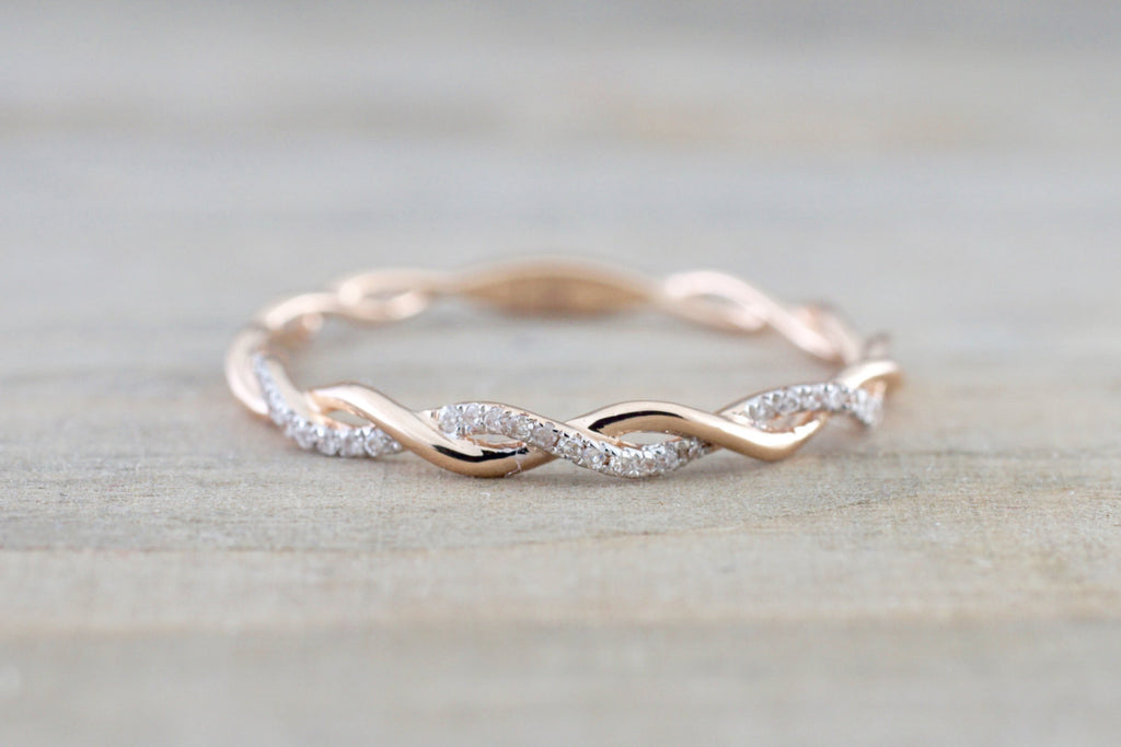 14k Rose Gold Diamond Rope Twined Vine Micro Pave Stackable Ring - Brilliant Facets