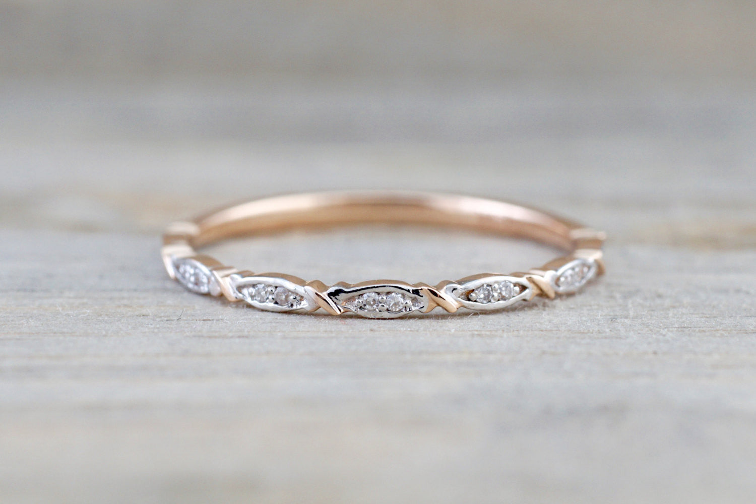 14k Rose Gold Diamond Engagement Pave Stackable Stacking Promise Ring Anniversary - Brilliant Facets
