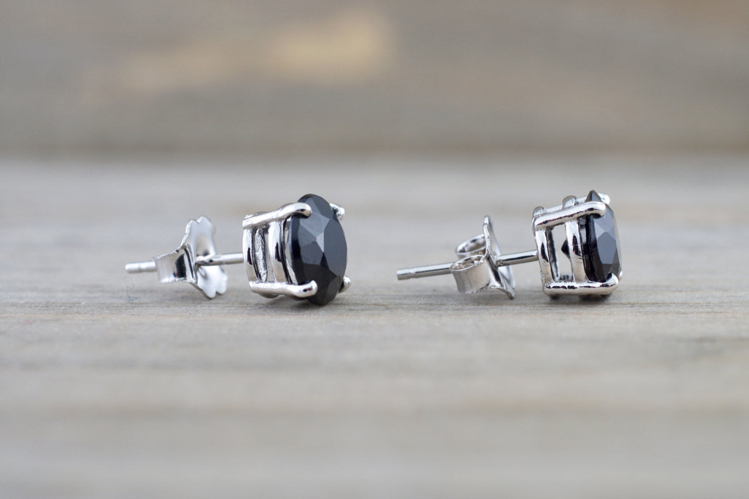 14k Solid White Gold Black Onyx Earring Studs Post Push Back Square - Brilliant Facets