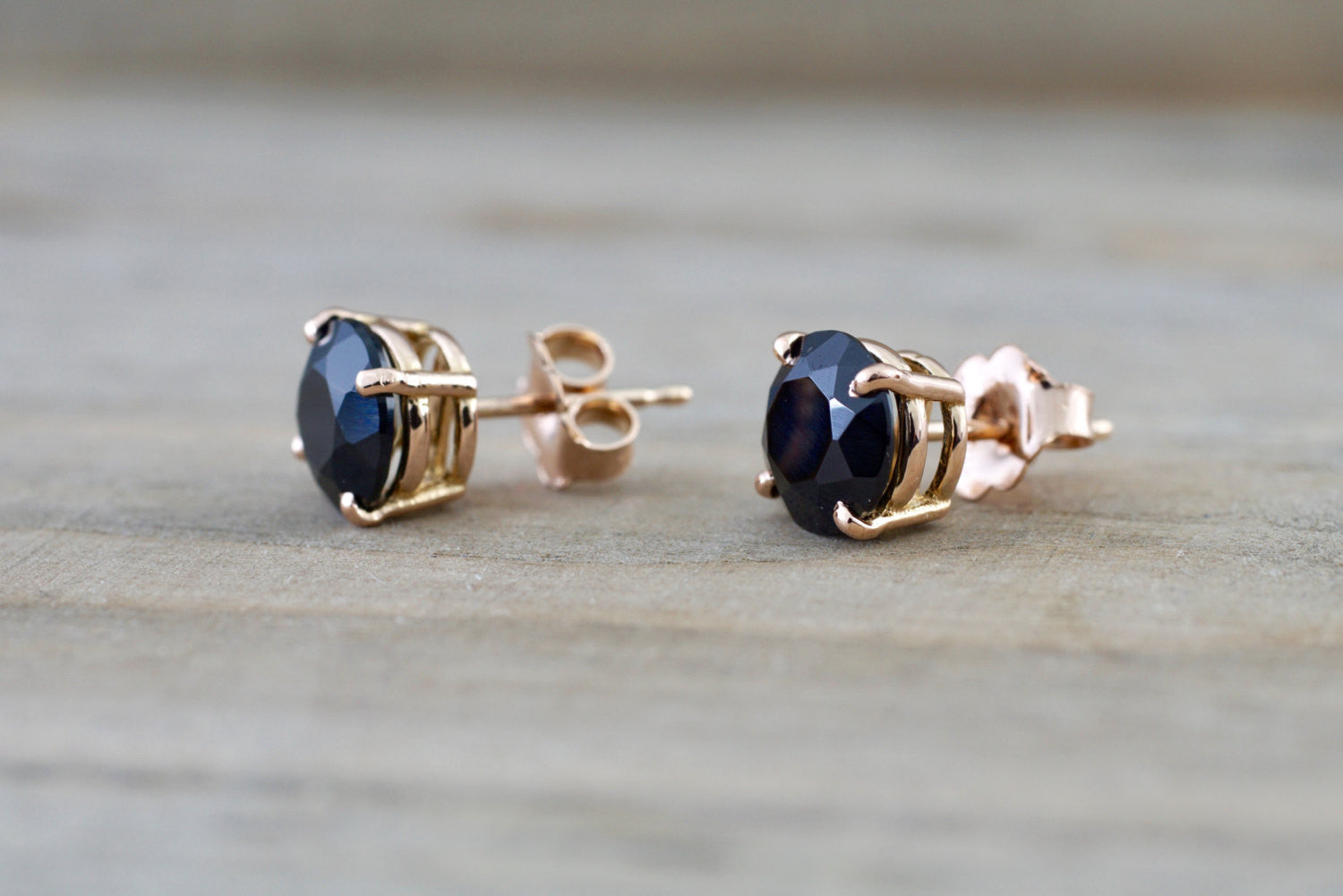 14k Solid Rose Gold Black Onyx Earring Studs Post Push Back Square - Brilliant Facets