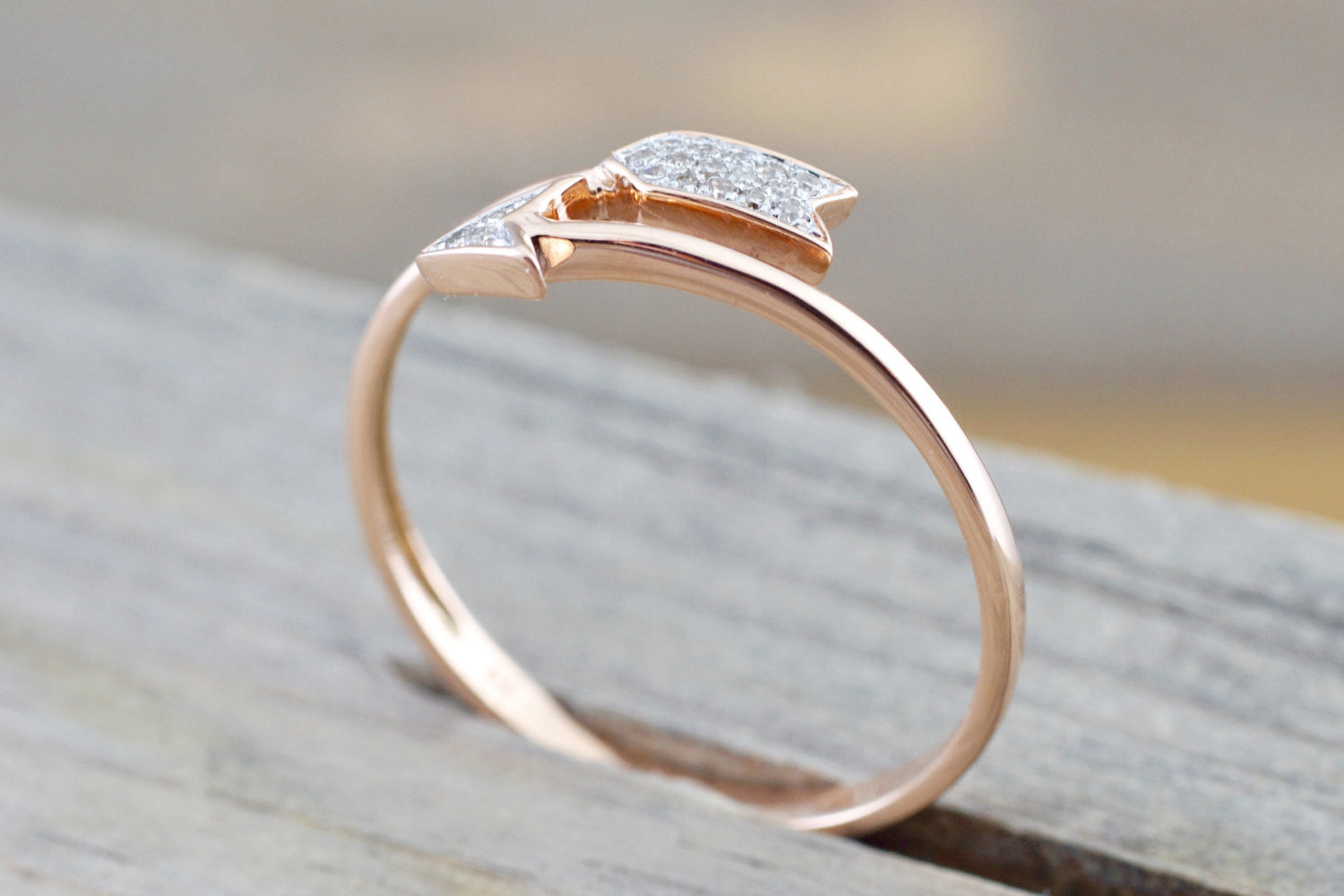 14k Solid Rose Gold Thin Diamond Arrow Ring Band Love Dainty Stackable Stacking - Brilliant Facets