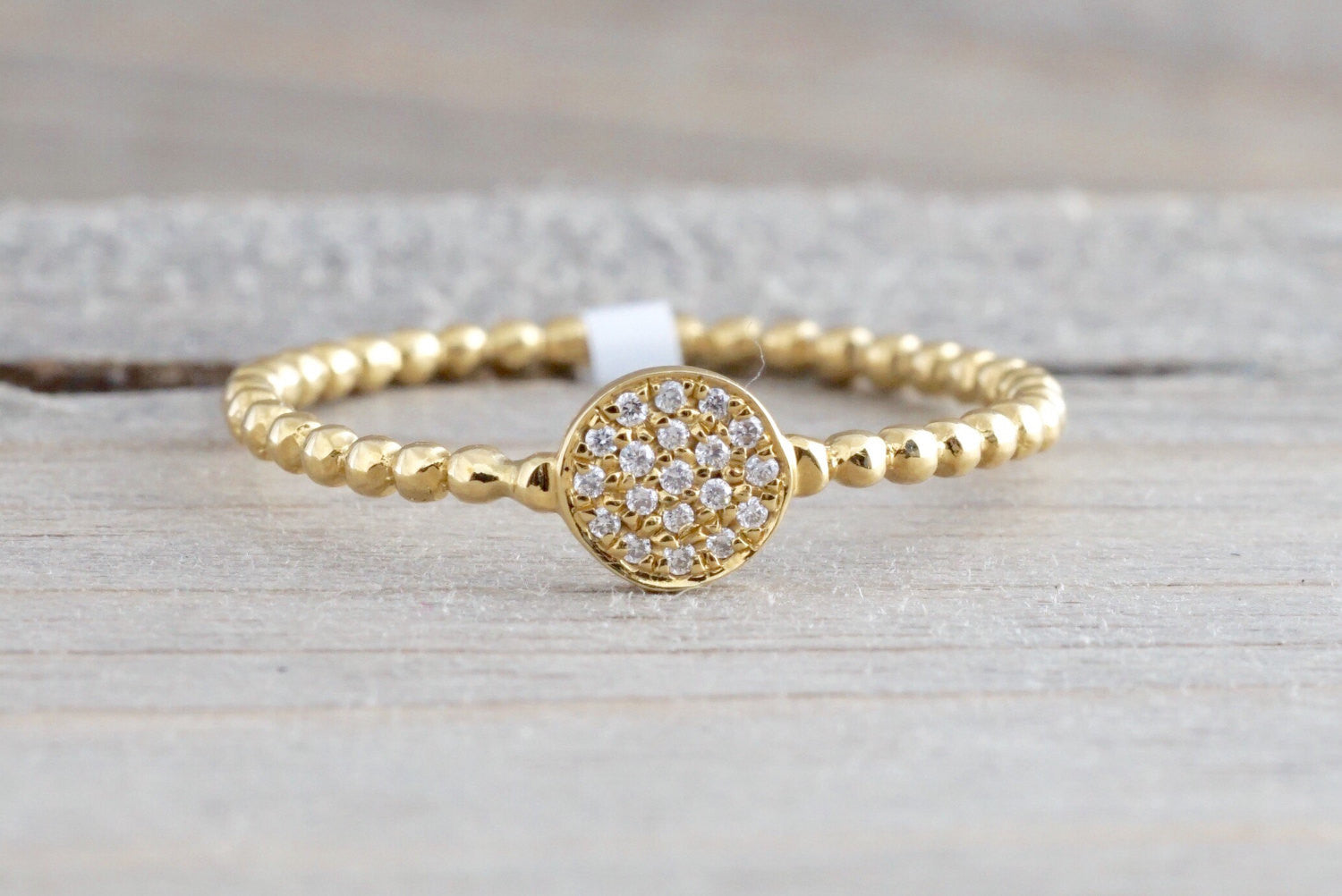 18k Yellow Gold Diamond Pave Disk Ball Bead Stackable Ring Band Promise Anniversary Fashion Rope