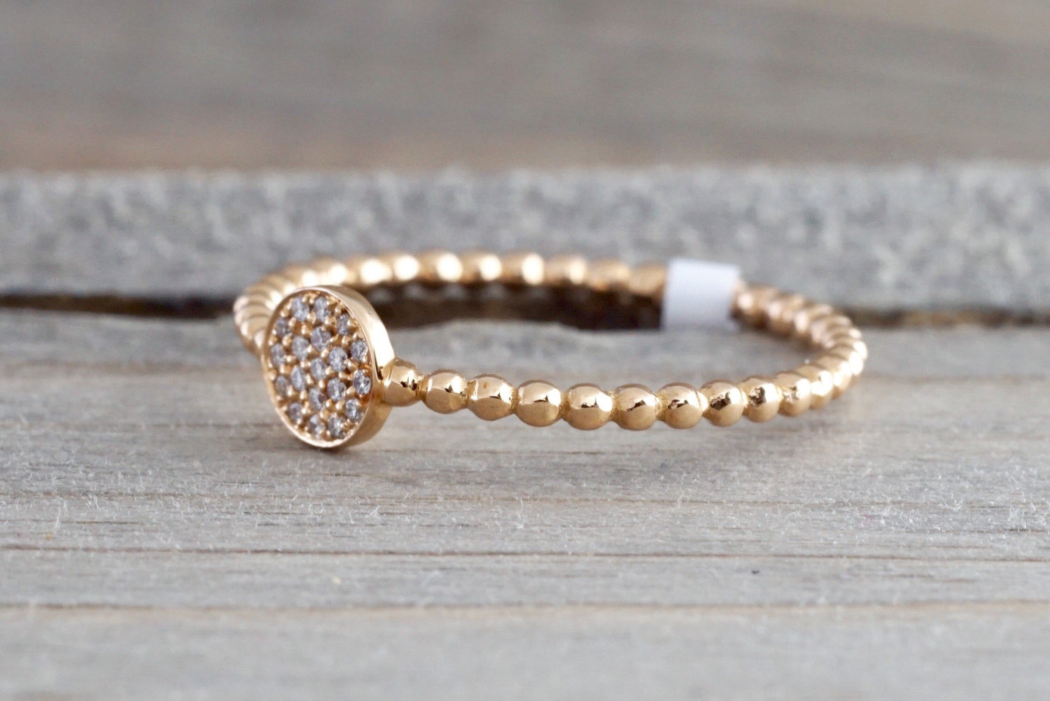 18k Rose Gold Diamond Pave Circle Disk Ball Bead Stackable Ring Band Promise Anniversary Fashion Rope