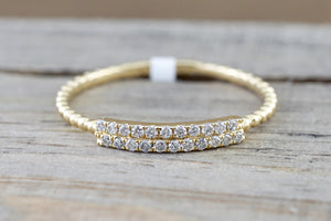 14 Karat Yellow Gold Dainty Double Row Diamond Bead Band Ring - Brilliant Facets