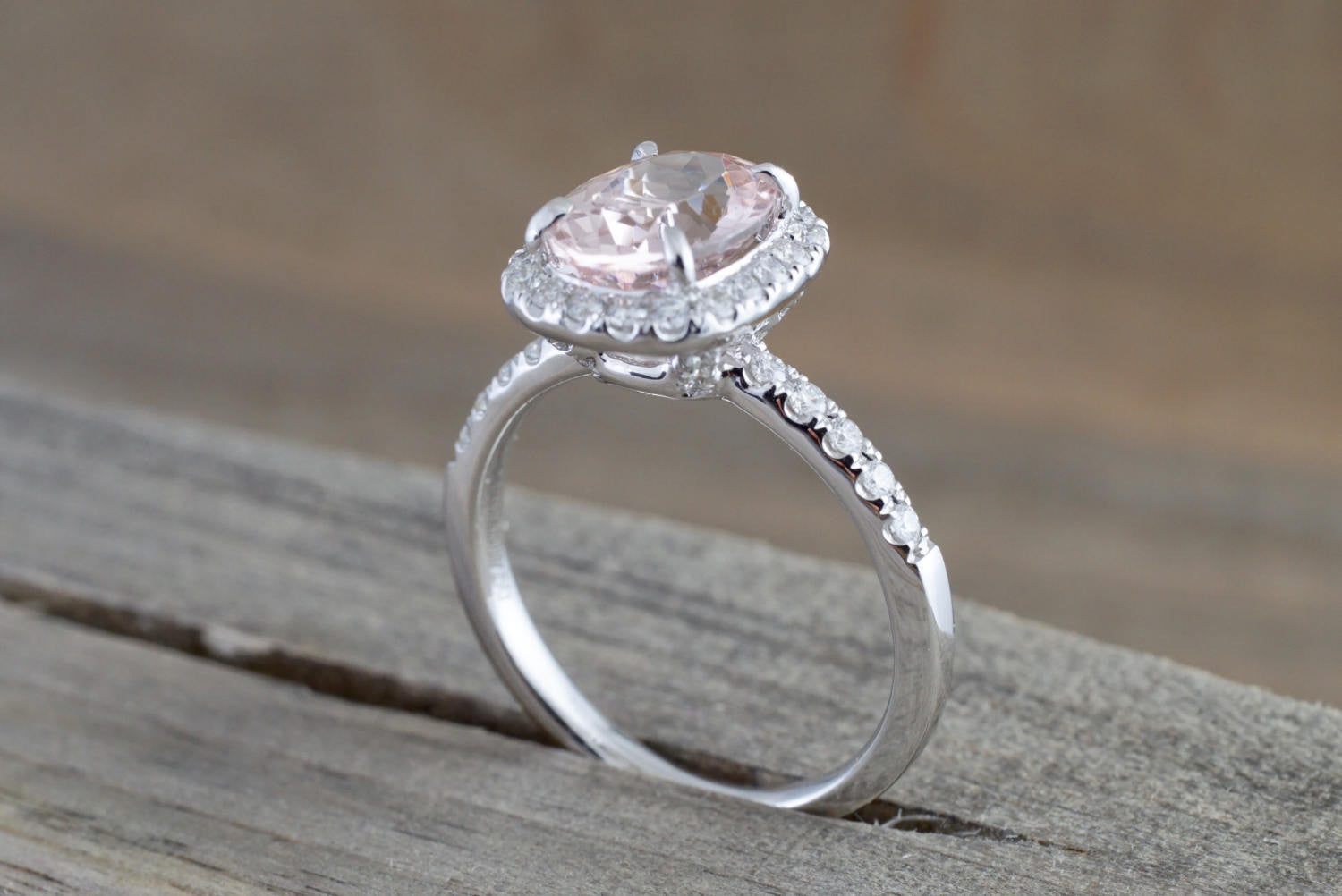18k White Gold Oval Morganite Peach Champagne Beige Diamond Halo Engagement Ring Vintage