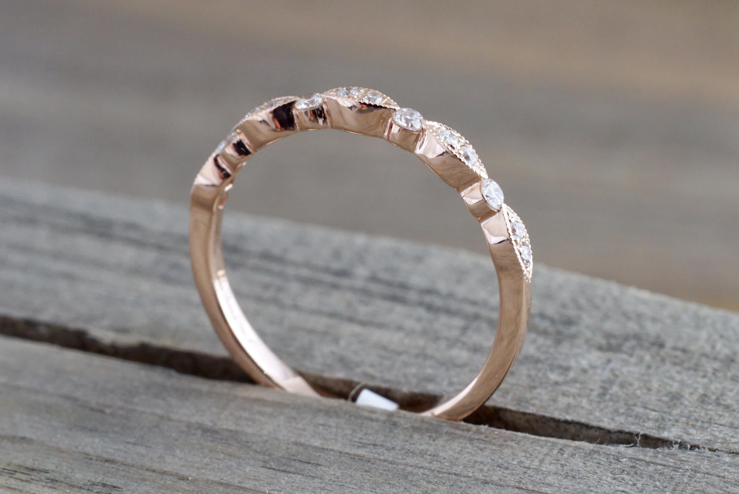 14k Rose Gold Diamond Vintage Milgrain Bezel Band Ring Wedding - Brilliant Facets