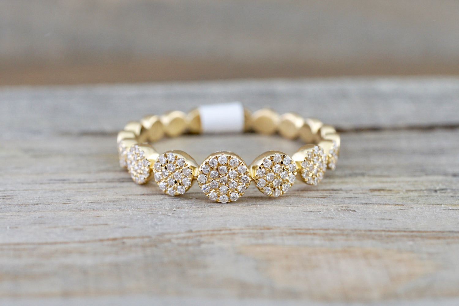 14 Karat Yellow Gold Dainty Pave Circle Diamond Band Ring - Brilliant Facets