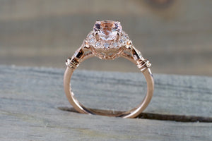 14k Rose Gold Dainty Round Morganite Diamonds Ring - Brilliant Facets