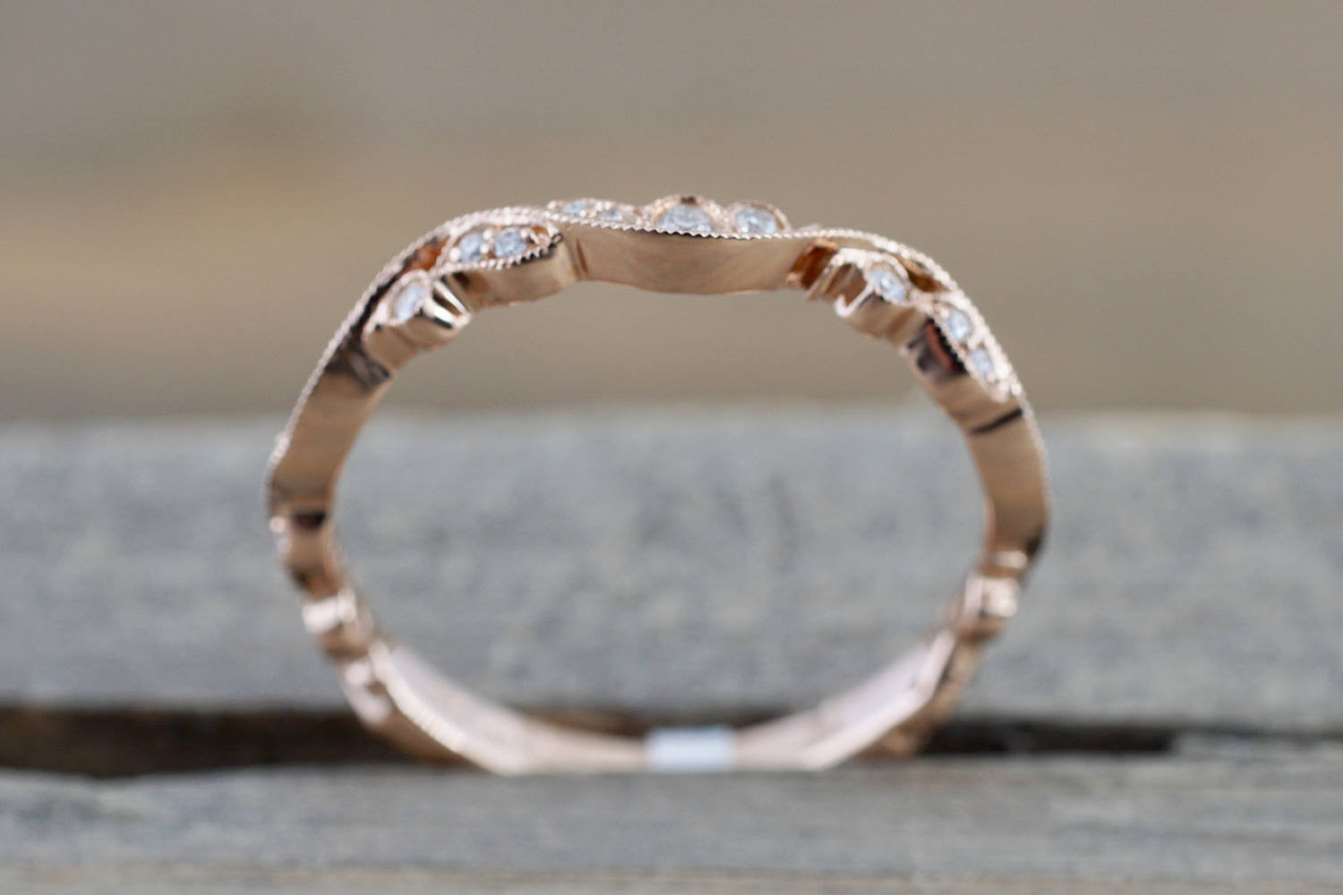 14k Rose Gold Vintage Vine Filigree Dainty Diamond Milgrain Band Ring - Brilliant Facets
