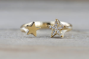 14k Yellow Gold Solid Double Diamond Star Open Ring Band