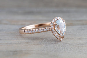18k Rose Gold Dainty Pear Aquamarine with Diamond Halo Engagement Wedding Ring Band Promise