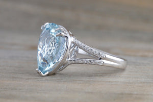 14k White Gold Pear Aquamarine with Diamond Split Shank Ring Engagement Wedding Ring Promise