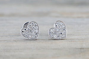 14k White Gold Disk Design Heart Diamond Earrings Stud Post Studs Round Micro Pave Flat