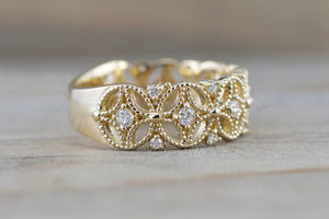 14k Yellow Gold Diamond Milgrain Etched Floral Vintage Anniversary Wedding Wide Right Hand Band Ring
