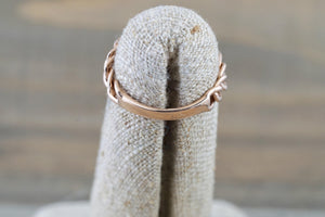 14 Karat Rose Gold Dog Tag Oval Pave Diamond Chain Link Ring - Brilliant Facets