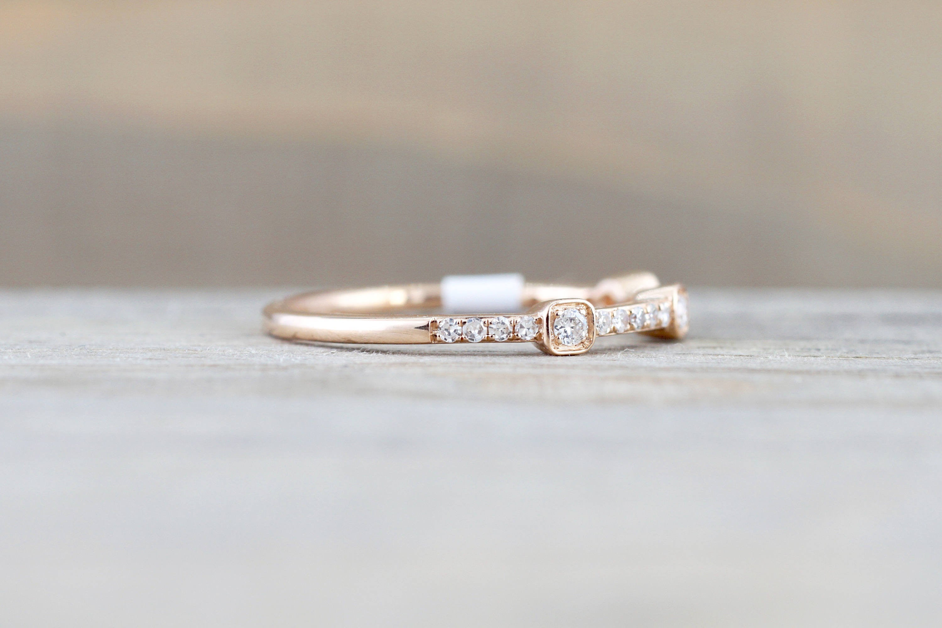 engagement white diamond french band ring double wedding set in gold ritani halo setting tw bands