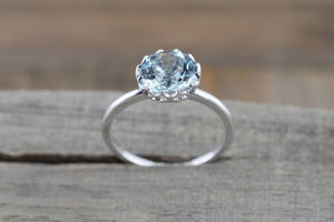 Mandi 14k White Gold Round 8mm Aquamarine Solitaire Crown Gemstone Tulip Ring