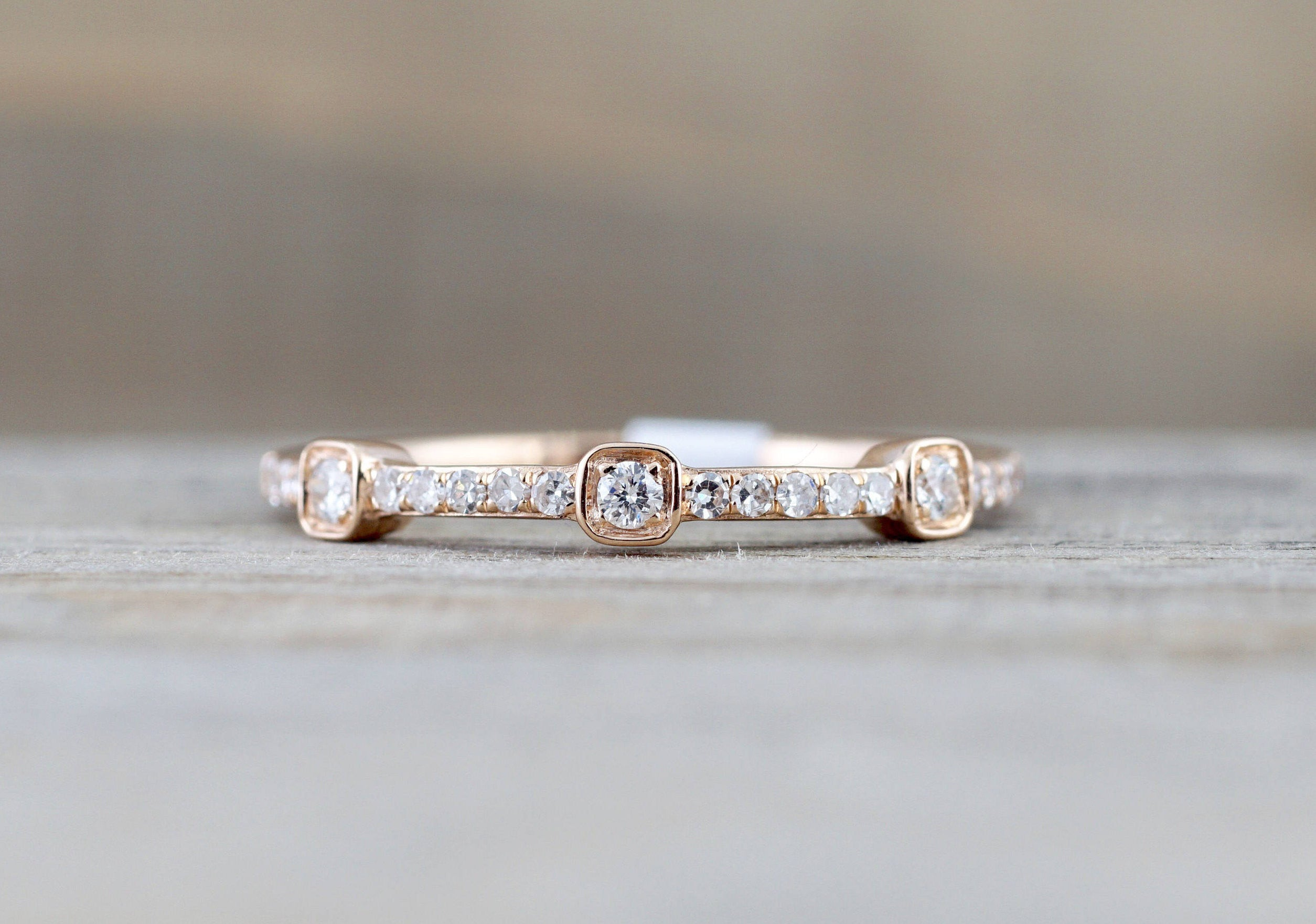 14 Karat Rose Gold Dainty Diamond Band Wedding Anniversary Love Ring Band Vintage Thin Bead Art Deco - Brilliant Facets