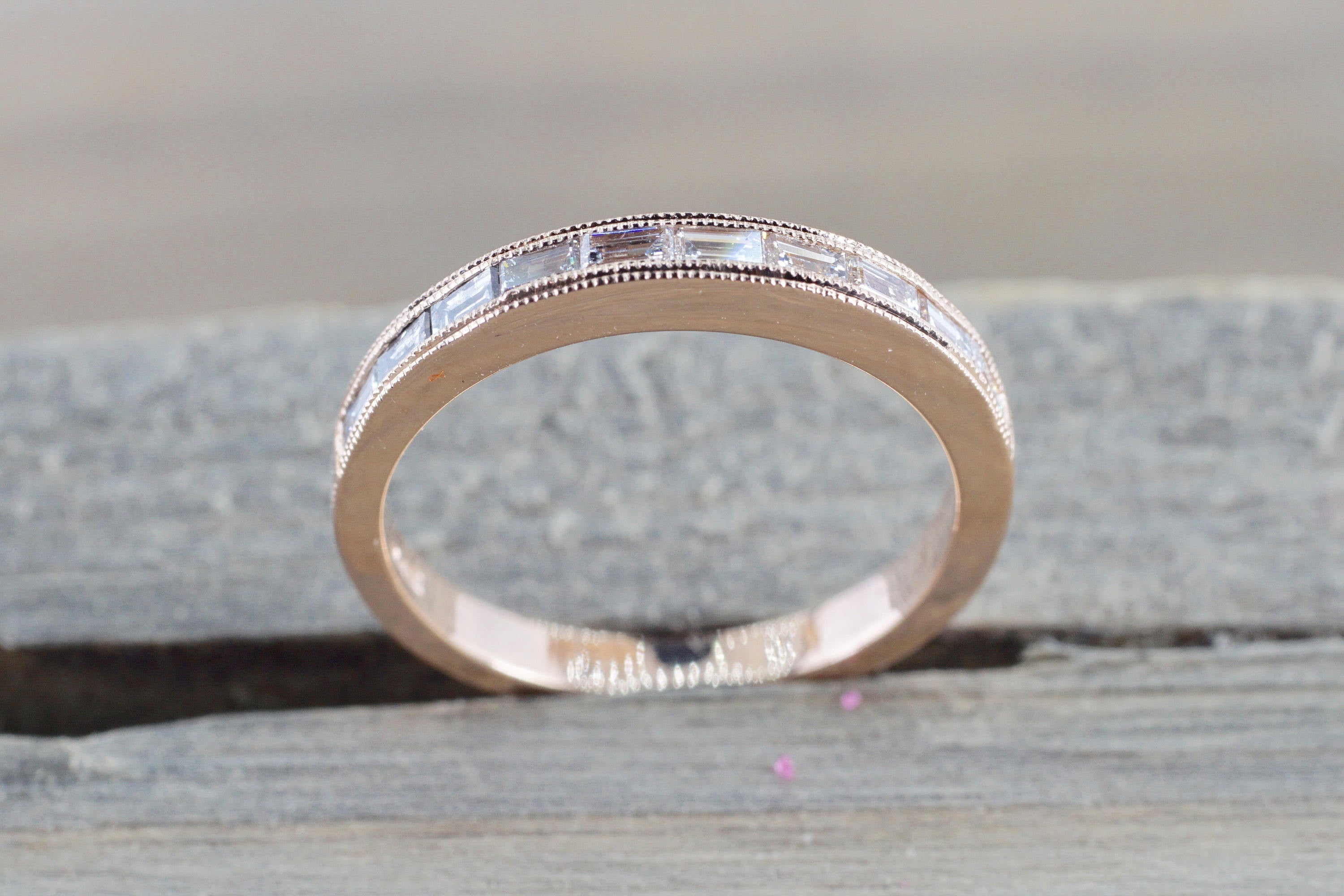 14k Rose Gold Baguette Cut Rectangle Diamond Milgrain Etched Channel Set 2.5mm - Brilliant Facets