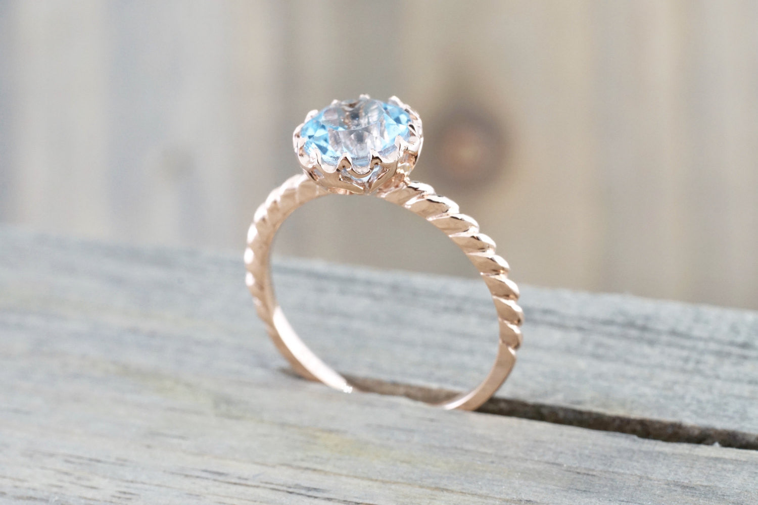 Mandi 7mm 14k Rose Gold Round Blue Topaz Ring Rope Classic November Birthstone
