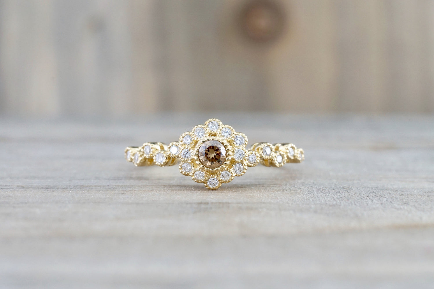 Vermont 14K Yellow Gold Classic Chocalate Diamond Engagement Wedding Promise Vintage Classic Cute Ring Band Arch Shaped