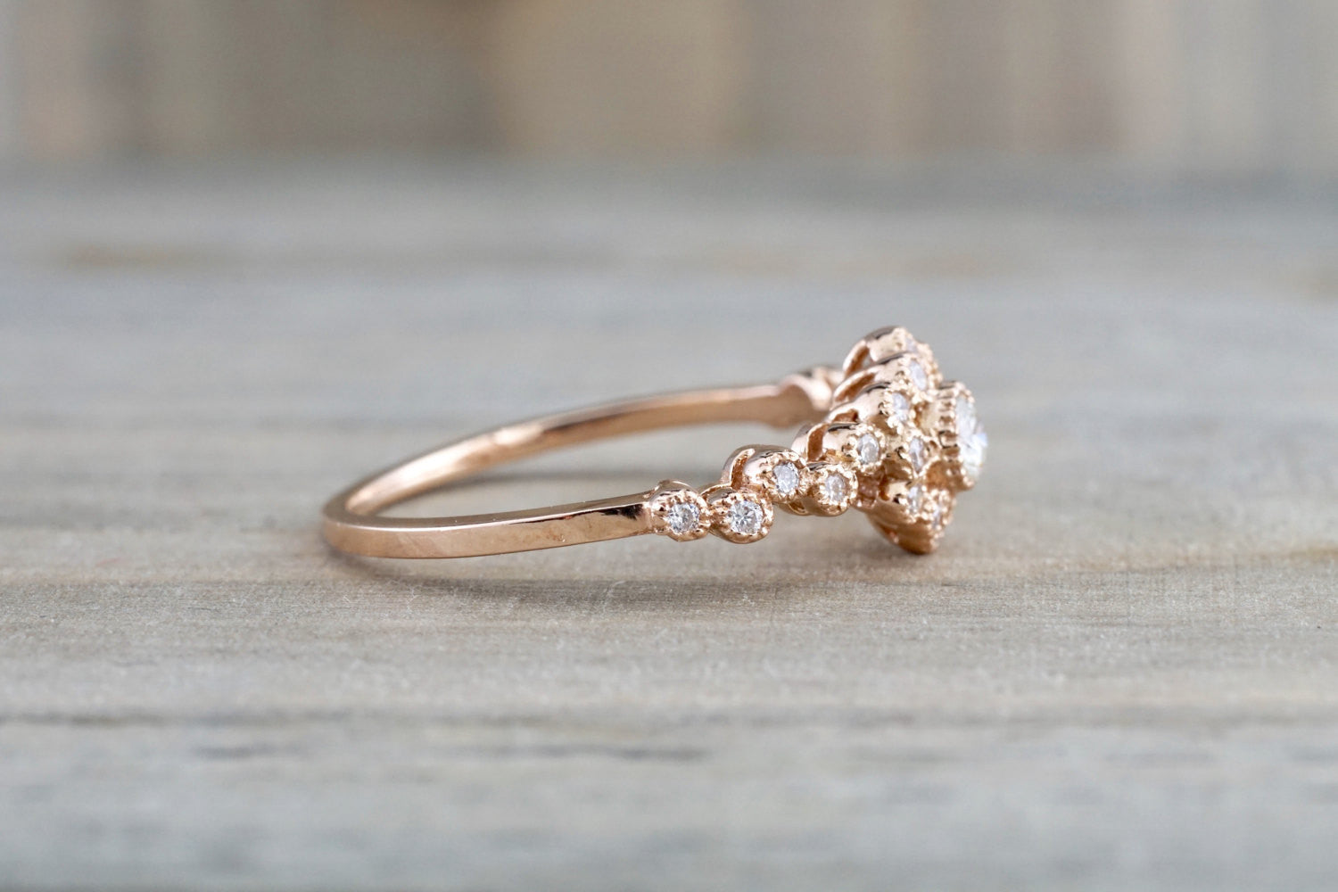 Vermont 14K Rose Gold Classic Diamond Engagement Wedding Promise Vintage Classic Cute Ring Band Arch Shaped