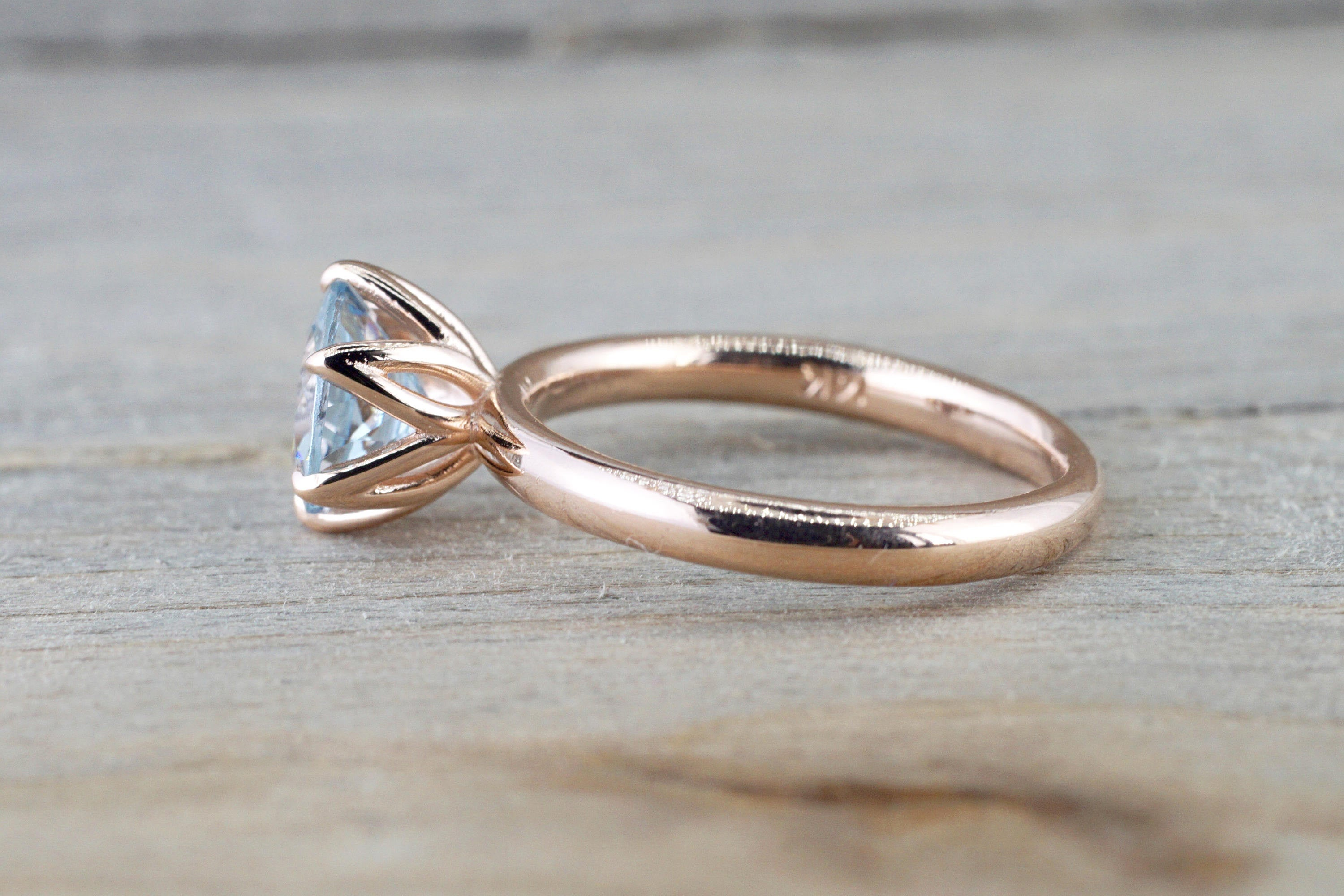 14k Rose Gold Round Aquamarine Tulip Crown Solitaire 6 Prong Ring 7mm Engagement Ring - Brilliant Facets