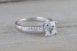 Charles Colvard Forever Brilliant Cushion Moissanite 18kt Gold Solitaire Band Engagement Ring