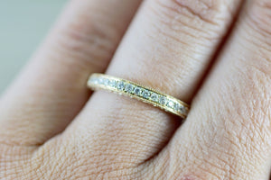 14kt Yellow Gold Diamond Milgrain Etching Vintage Wedding Engagement Anniversary Band Ring Filigree Vine