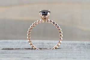 14k Rose Gold Black Onyx Engagement Promise Ring Rope Bead - Brilliant Facets