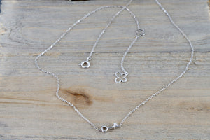 "14k White Gold Diamond Dainty Key Pendant Necklace with Chain 16"" 18"" - Brilliant Facets"