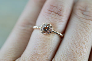 Sunset 14k Rose Gold Round 5mm Morganite Peach Champagne Beige Rope Milgrain Halo Engagement Ring Crown Vintage Solitaire